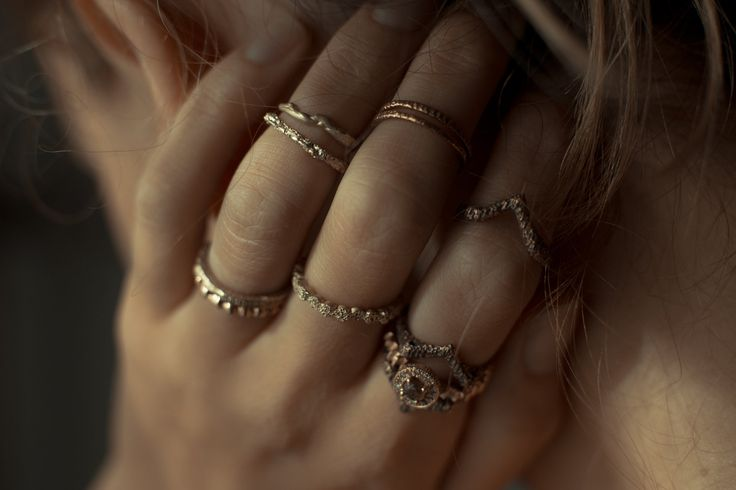 HEIR·LOOM, stackable yellow and rose gold rings by Rhodes Wedding Co.