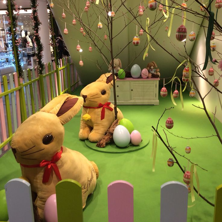 Plush .Lindt bunnies in their guarden