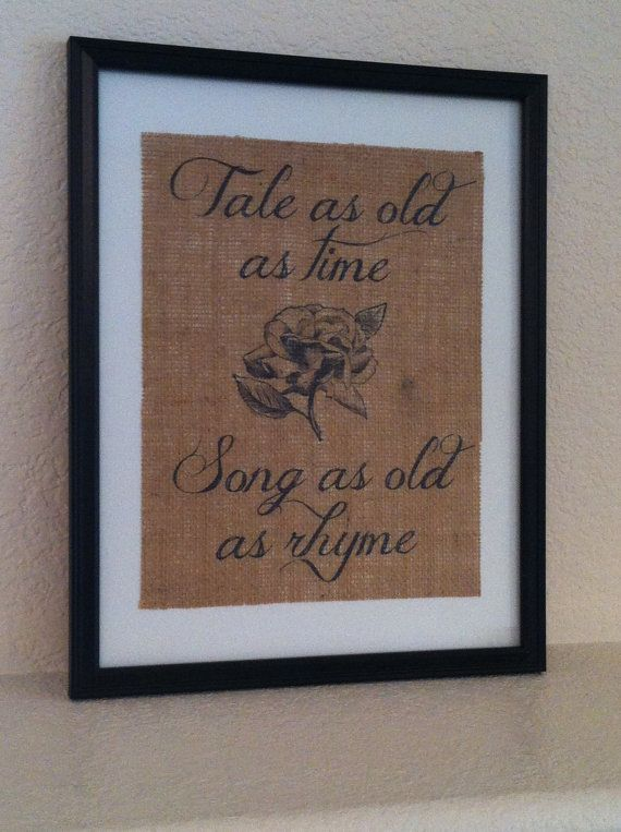 Rustic burlap art Tale as Old as Time Beauty and the Beast Fairy tale ARTWORK ONLY on Etsy, $20.00