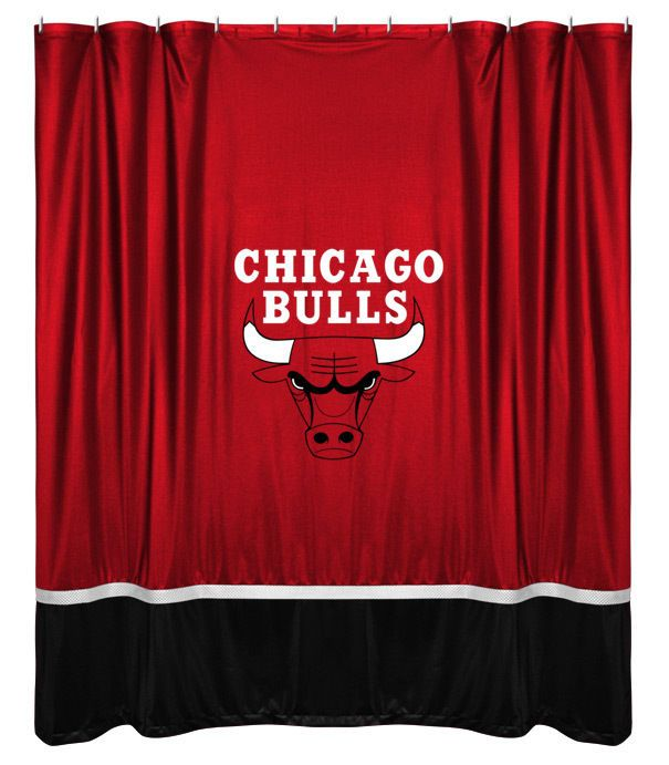 Chicago Bulls NBA Sports Coverage Team Color Shower Curtain Sidelines  #SportsCoverage #ChicagoBulls