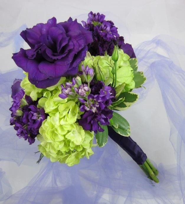 Purple lisianthus and lime green hydrangeas. A couple of my favorite flowers. bridesmaids