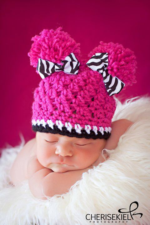 I want this hat!: Idea, Crochet Baby Hats, Pompom, So Cute, Crochet Hats, Cute Hats, Baby Crochet, Baby Girls, Pom Pom