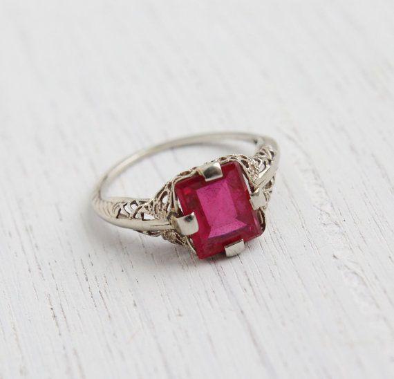 Antique 10k White Gold Pink Stone Ring - Size 5 Vintage Filigree Art Deco 1930s Fine Jewelry / Rectangular Cut Stone