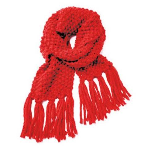 Strickmuster: Roter Schal mit Perlmuster - eine Anleitung