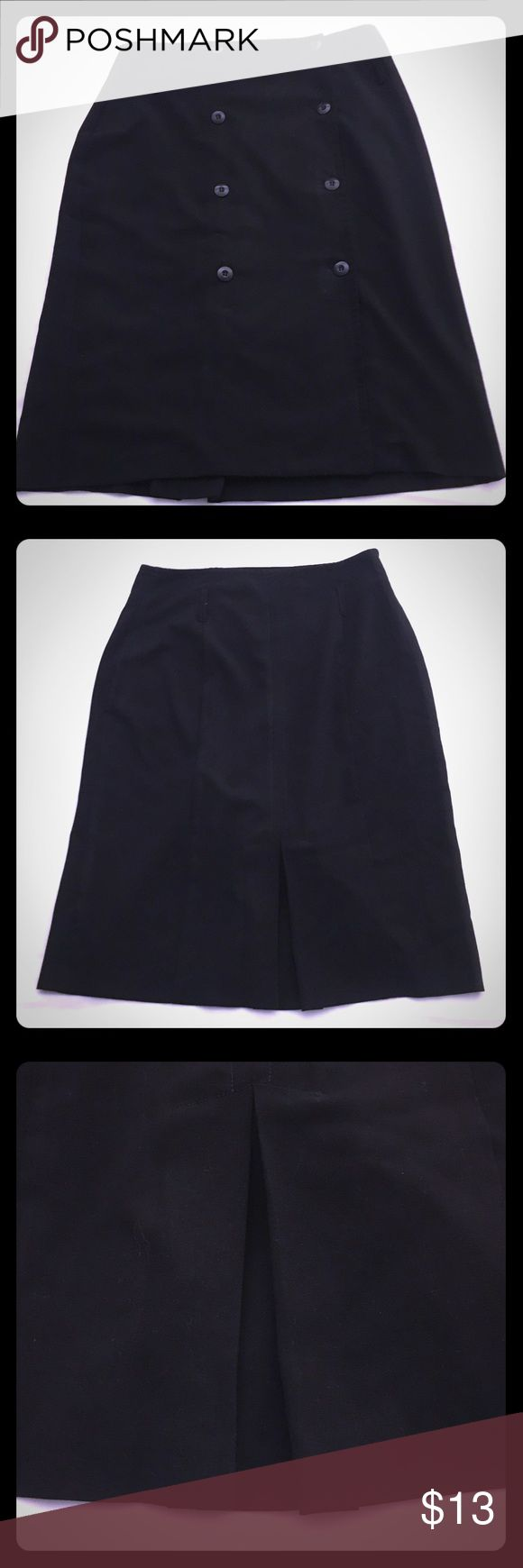 Black Mid-Calf Buttons Skirt 🎁Comes w/ FREE gift! Size 12 Black mid-calf skirt with two rows of 4 buttons (8 buttons total) running down the front of the skirt. Covered slit in the middle of the back of the skirt for easy walking. This skirt has the option to wear a cute belt with it with belt loops. Great for the office, a meeting, dinner date, great skirt to wear to special events! 🎁🎁🎁Comes with free gifts!!! And fast shipping!!!📦📦📦 Bundle to save!! Make me an offer! AB Studio…