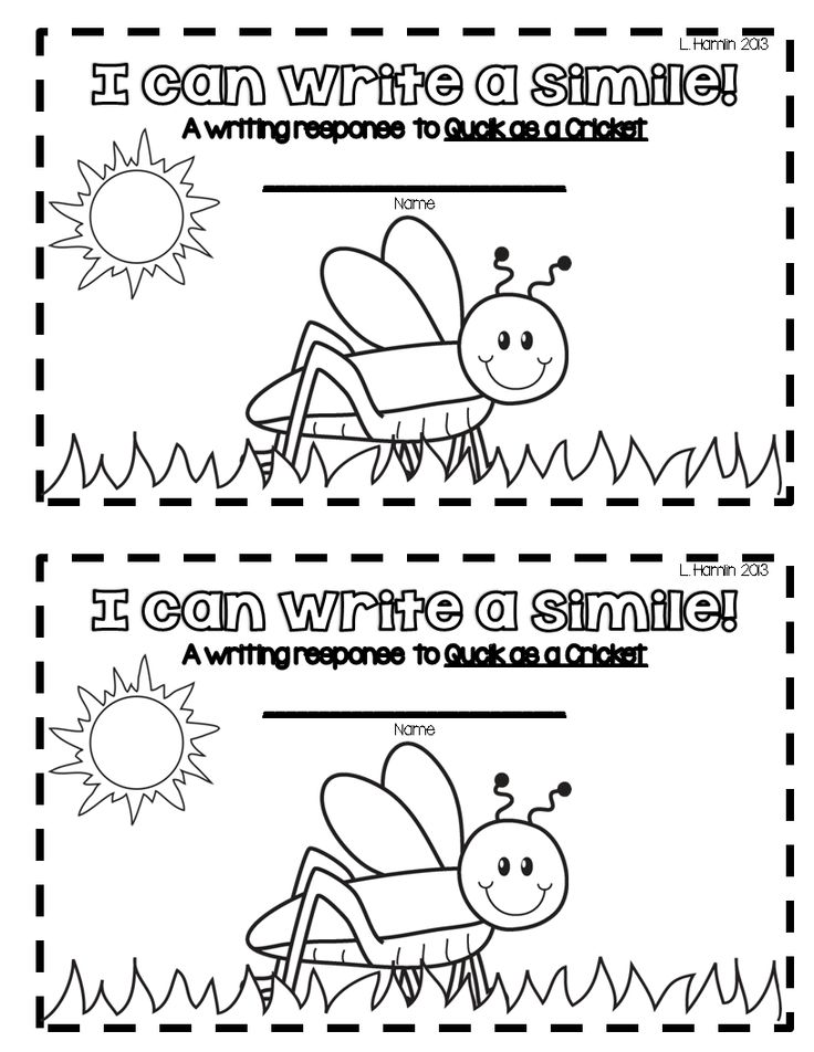 Quick As A Cricket Similie Freebie Writing Mini Lessons First Grade Reading 1st Grade Writing