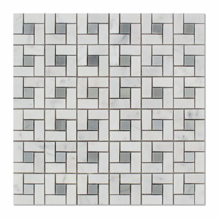 Carrara White Marble Honed Pinwheel Mosaic Tile w/ Blue-Gray Dots