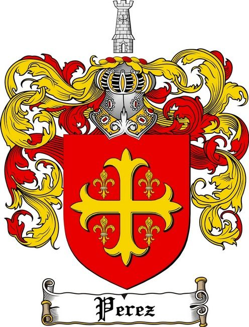 PEREZ FAMILY CREST - COAT OF ARMS gifts at www.4crests.com