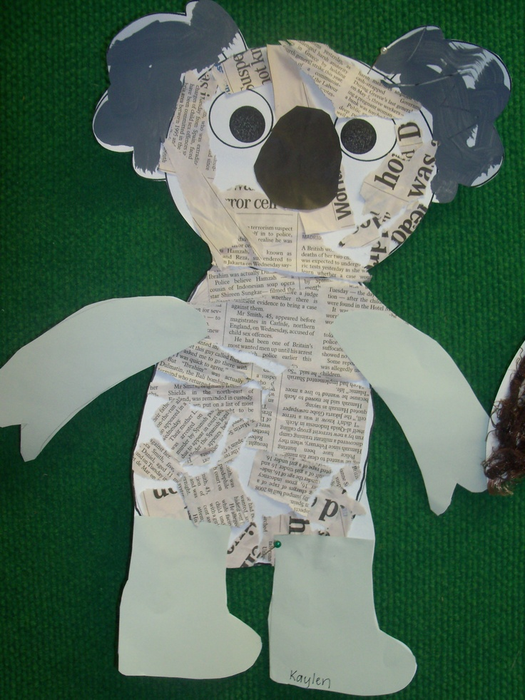 get the children to tear pieces of newspaper for the body and grey for the ears. Trace & cut arms & legs.