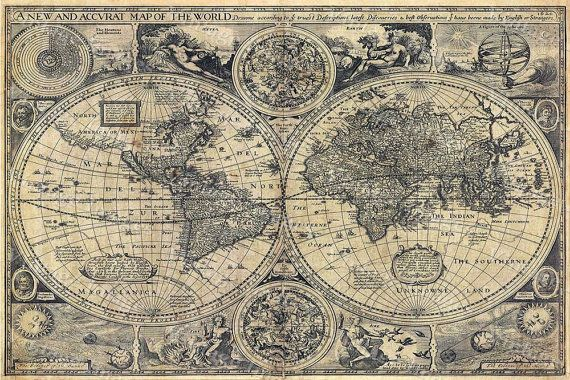 Giant Historic 1626 Old Antique Style World Map by VintageImageryX, $89.00