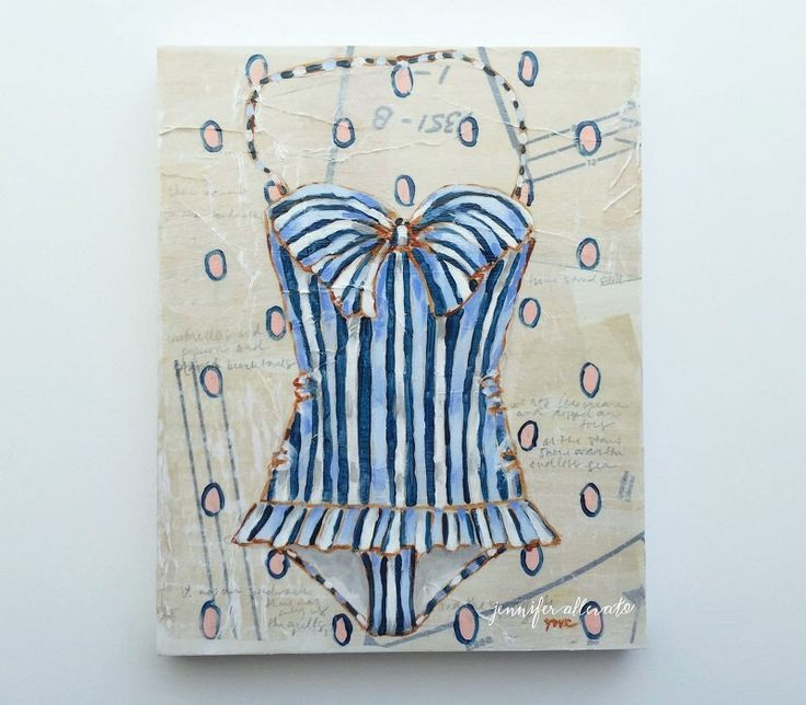 """Vintage bathing suit painting summer swim suit wall art - """"The Boardwalk"""" by jenniferallevato on Etsy https://www.etsy.com/listing/400286339/vintage-bathing-suit-painting-summer"""