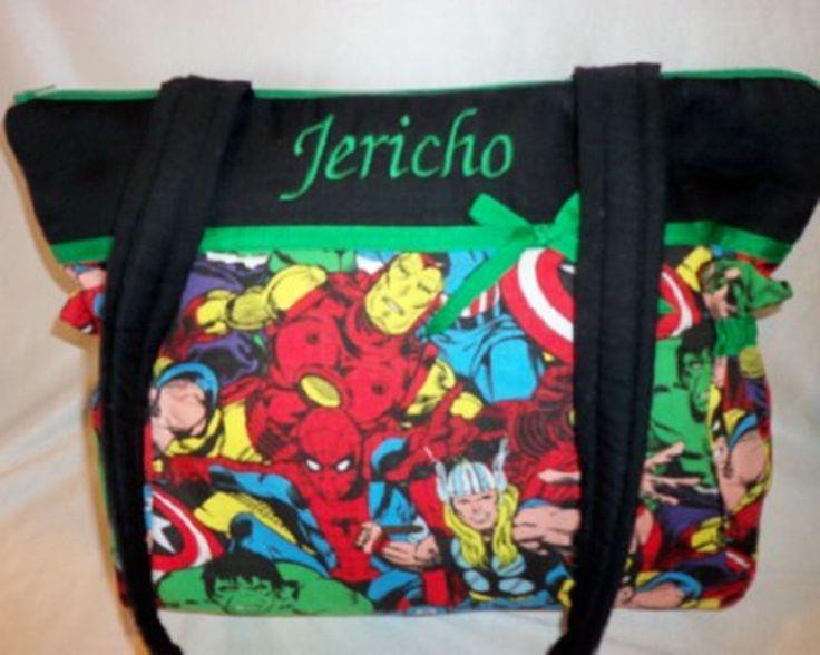 Marvel Avengers super hero fabric tote bag diaper bag purse Great for Dad's too #DesignsbyKeri #ShoulderBag