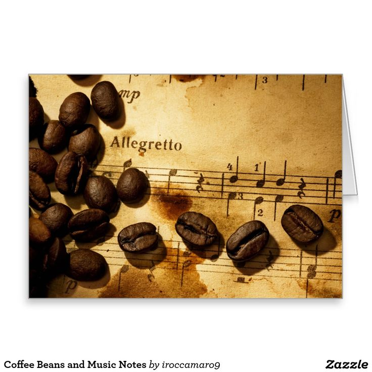 Coffee Beans and Music Notes Greeting Card