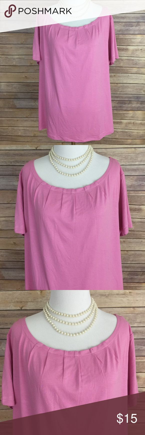 "TALBOTS WOMAN Pink Short Sleeve Top, Size 1X TALBOTS WOMAN Pink Short Sleeve Women's Top , Size 1X.  This comfortable pink top has a beautiful rounded neckline with subtle gathering and short sleeves.  The material is 96% Rayon and 4% Spandex, and the approximate measurements are as follows:  Length = 24"" and Bust = 46"".  All measurements are approximate and taken with the garment laying flat.  Accessories are sold separately. Talbots Tops Tees - Short Sleeve"