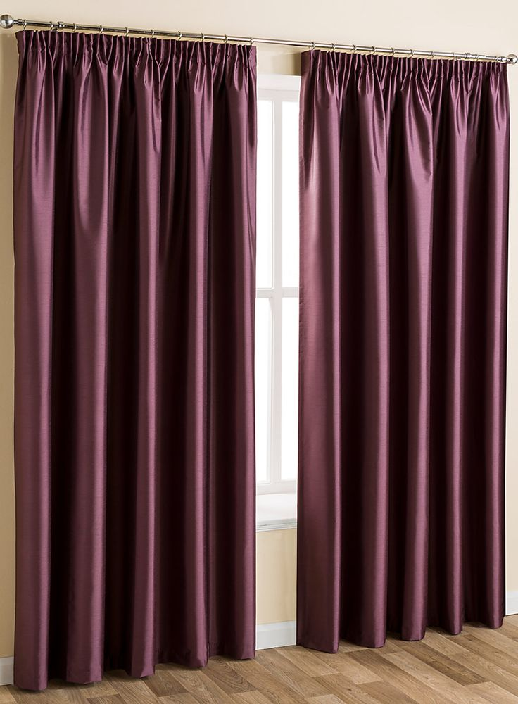 Plum Plain Faux Silk Blackout Thermal Pencil Pleat Curtain