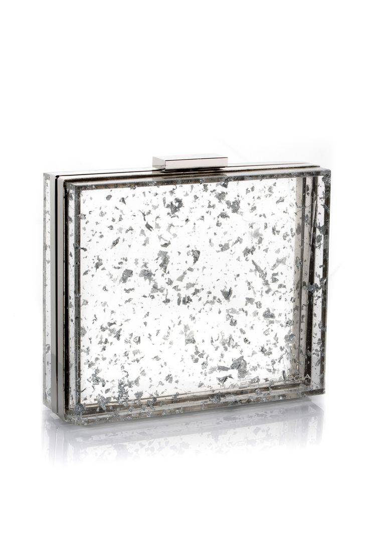Autumn-Winter 2014 Collection trendy transparent evening clutch with pieces of silver foil spread over the bag surface.