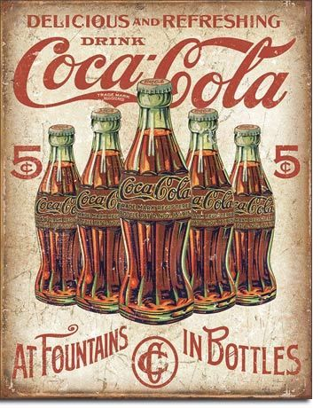 Coca-Cola At Fountains in Bottles Tin Sign