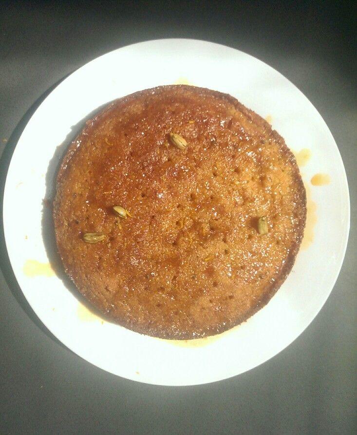 Orange polenta cake with cardamom sugar syrup