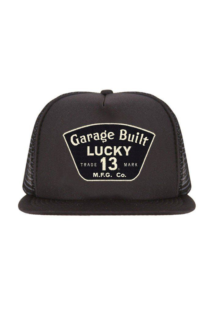 Fresh out of the box Lucky 13 Men's Th... click here to snag it http://leftcoastthreads.com/products/lucky-13-mens-the-garage-13-trucker-hat-black-lctfm9gr-1?utm_campaign=social_autopilot&utm_source=pin&utm_medium=pin