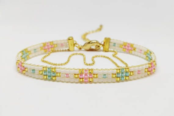 Gift for baby shower, It's a girl, It's a boy, Pink blue loomed bracelets, Woven jewelry, Gold plated finish, Boho chic style, Friendship