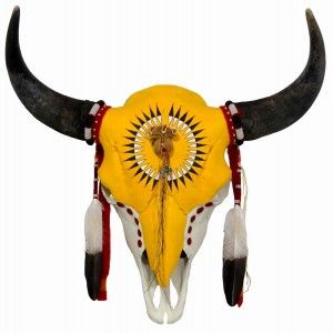 Hand Painted Buffalo Skull w. Feather Design Native American Made