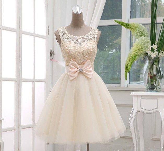 Princesse dentelle robe de mariée backless 2014 court. champagne robe de mariée de conception