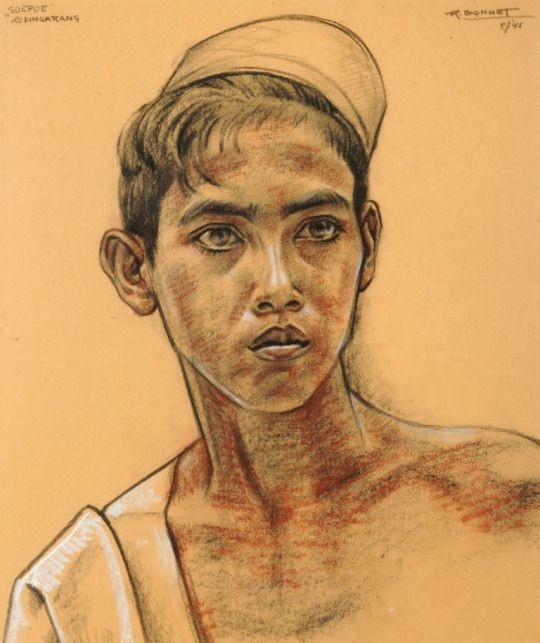 Rudolf Bonnet (1901-1978) - Portrait of a boy, pastel/charcoal. Things of beauty I like to see