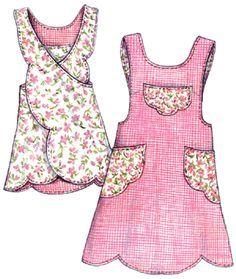 Scalloped avental padrão-Paisley Pincushion, padrão avental, avental padrões, vintage, retro, aventais, avental recortado, vieira,