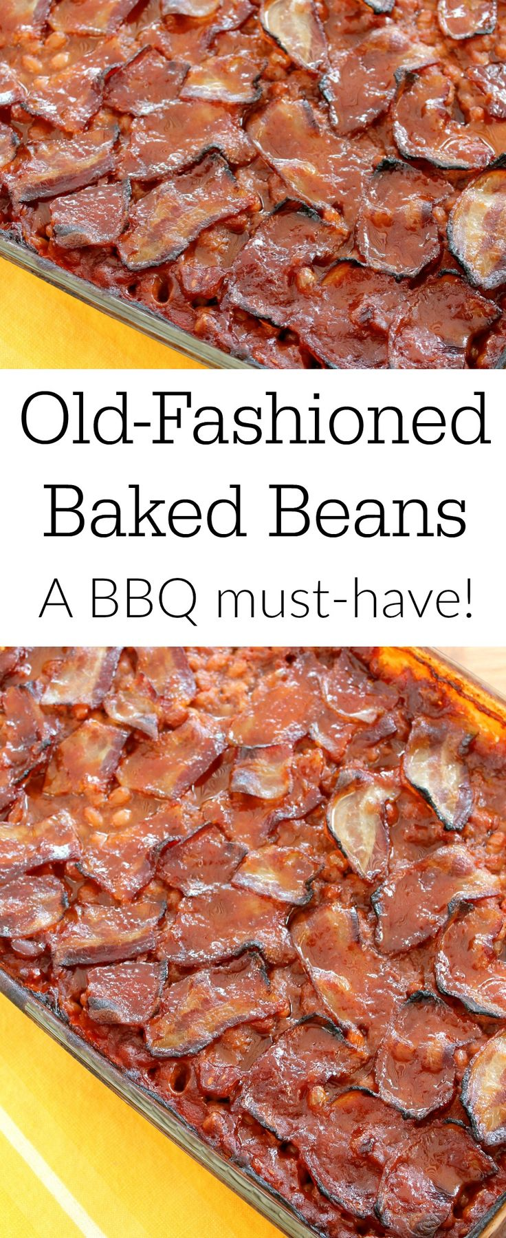 I get asked for this recipe for Old Fashioned Homemade Baked Beans with bacon every time I take it somewhere! I always come home with an empty pan!