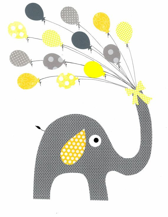 Yellow and Grey Elephant Nursery Artwork Print // Baby Room Decoration // Kids Room Decoration // Gifts Under 20 on Etsy, $14.00