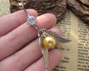 Harry Potter,Golden Snitch Charm Belly Button Ring, Crystal Belly Ring