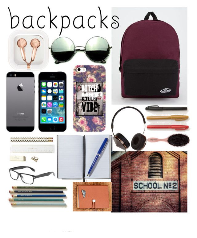 """backpack"" by httpfuckyoubitches ❤ liked on Polyvore featuring Vans, claire's, Revo, FingerPrint Jewellry, Schoolhouse Electric, Smythson, Kate Spade, Frends, backpacks and contestentry"