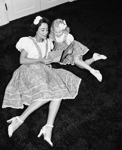"""Joan Crawford and her daughter Christina who penned """"Mommy Dearest"""" after Crawford died...........Let's just say Christina got the last word."""