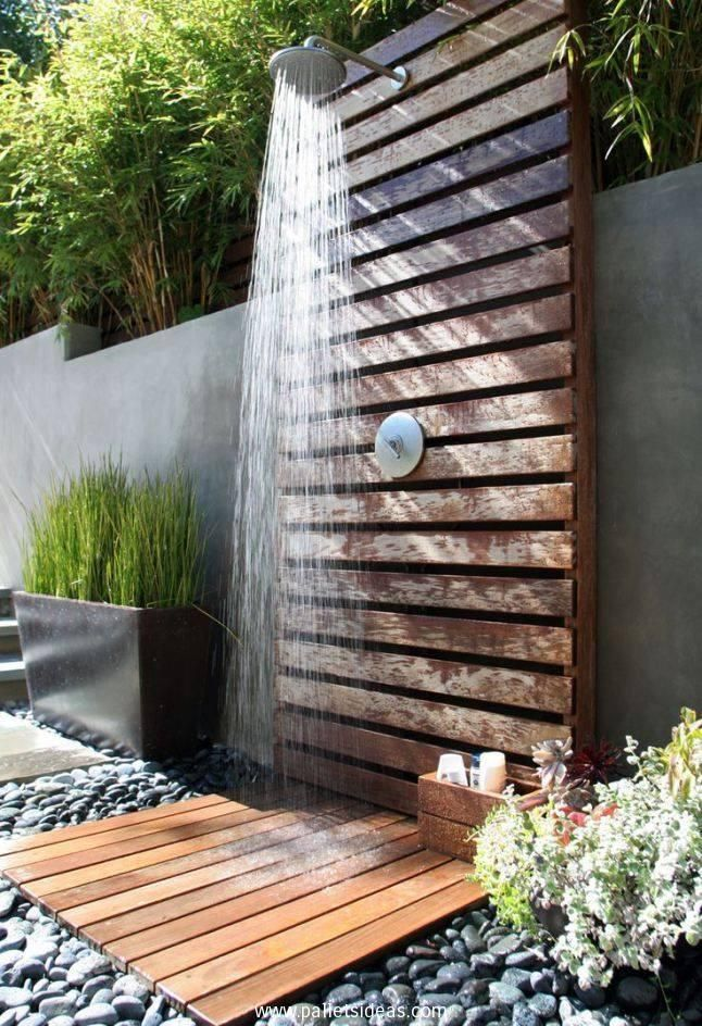 Pallets Made Outdoor Bathing Shower Ideas | Pallet Ideas