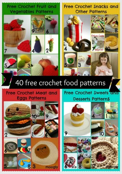 Play with your food! 40 free amigurumi #crochet food patterns! Giant pattern roundup at moogly!