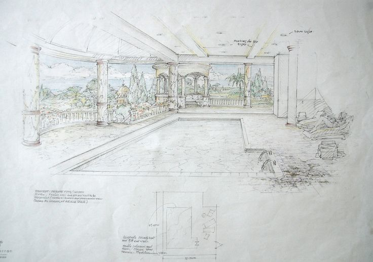 Hand drawing for internal swimming pool www for Swimming pool drawing