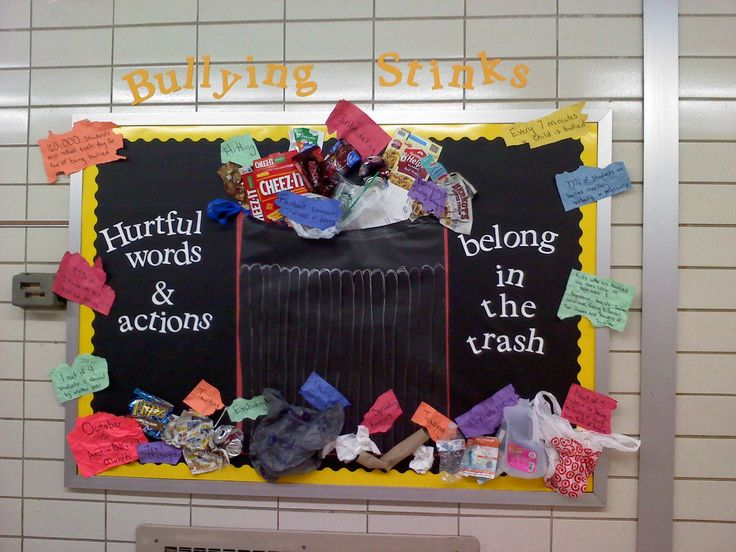 "I was in charge of the main bulletin board in the 7/8 grade hallway. October is Anti-Bullying Month, so I made a trash can because ""Bullying Stinks."" The colored pieces are statistics on bullying."