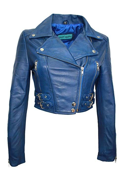 Carrie Hoxton Missy Ladies Short Fashion Fitted Blue Biker