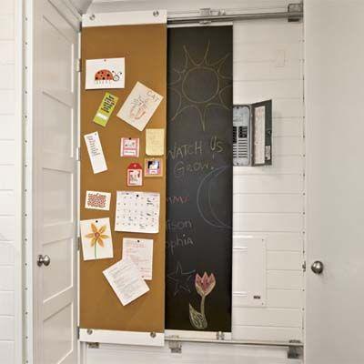 J'aime beaucoup l'idée des panneaux coulissants pour cacher le panneau électrique. Mi liège mi mur à craie!