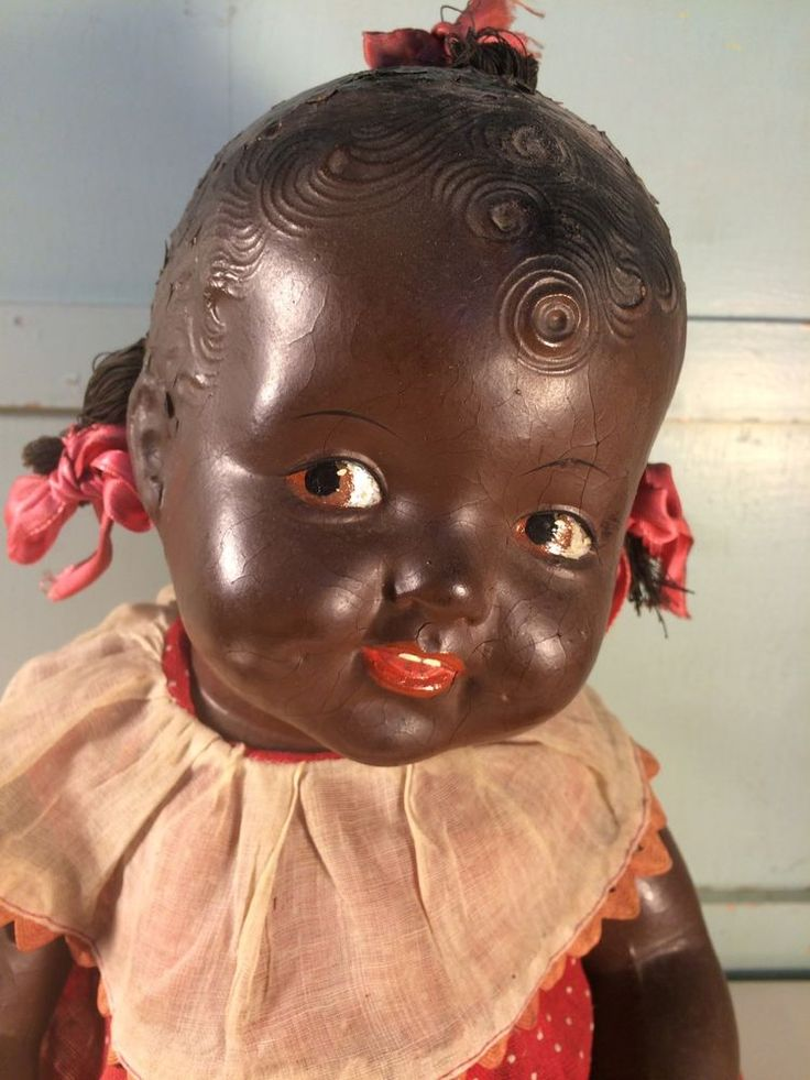 """VINTAGE 1940'S COMPOSITION   17"""" African American Black BABY DOLL AA Americana  