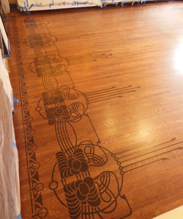 Art Deco stenciled wood floor  For the Home  Stenciled floor Art deco decor Flooring