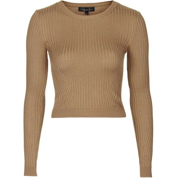 TopShop Petite Travelling Rib Jumper ($33) ❤ liked on Polyvore featuring tops, sweaters, camel, petite jumpers, ribbed top, brown tops, rib sweater and topshop