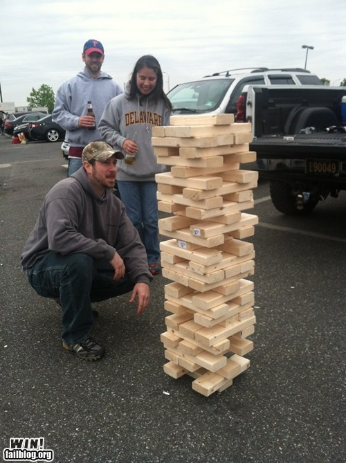 Tail gating Jenga.  I WANT THIS!   Who could I get to make it?!