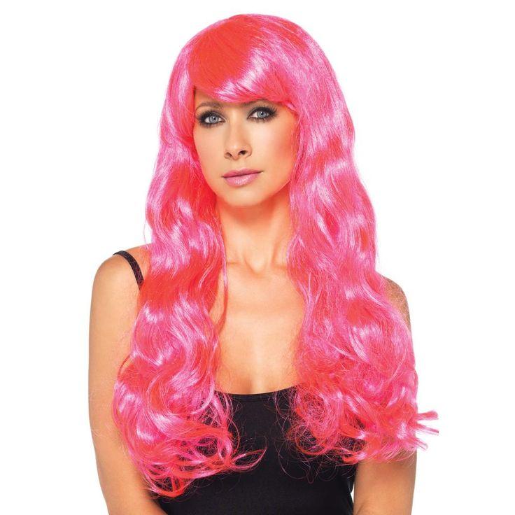 Leg Avenue Neon Star lange golvende pruik met pony roze - Kostuum Part