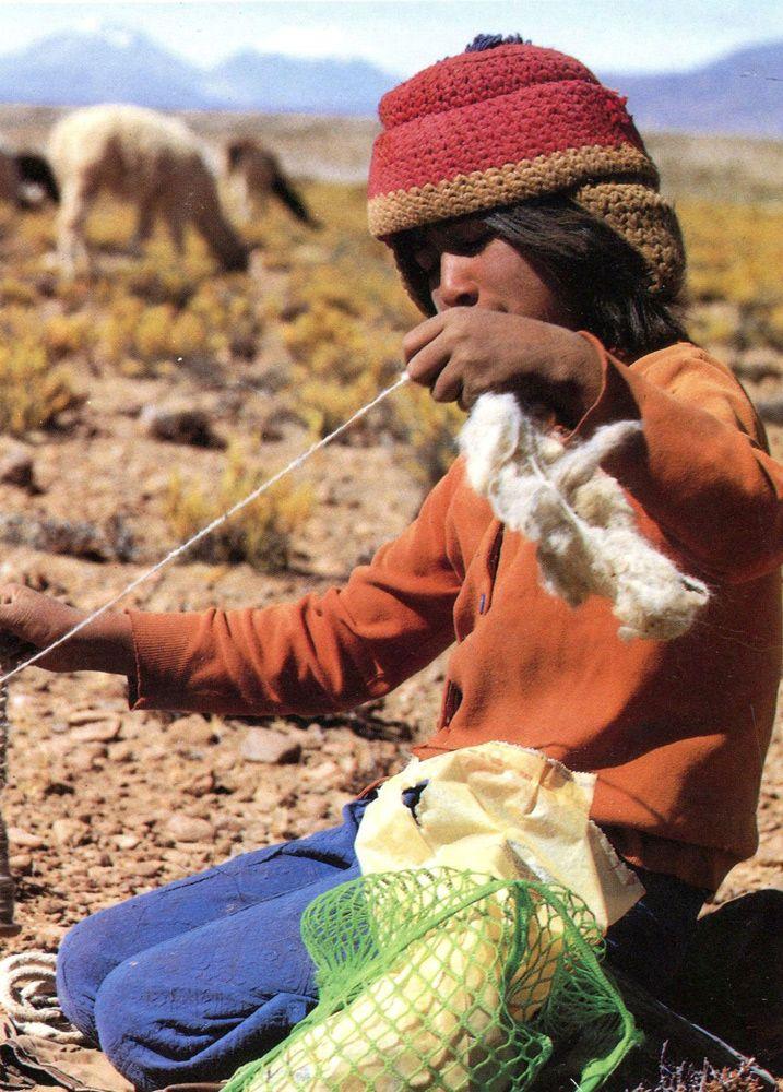 """Niño aymara hilando un vellón de alpaca mientras pastorea el ganado. Fotografía Sara Larraín. S/F. En: """"Norte Grande 500 Años Después"""". Sara Larraín Ruiz Tagle. Editorial La Puerta Abierta. 1989."""