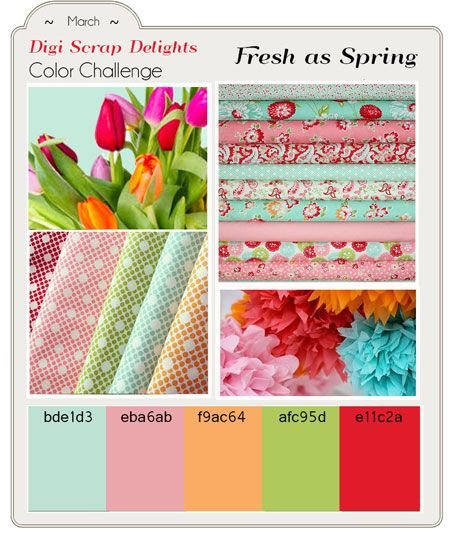 Dozens of Digital Scrapbook Freebies! in  yummy ruby, pink, green, orange, and aqua! Etsy Designers Color Challenge #Freebies #Free #Downloads