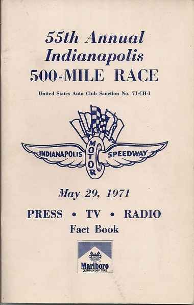 1971 Indianapolis 500 Fact Book 55th Annual Race 1971 Indianapolis 500 Fact Book 55th Annual Race Al Unser [] - $45.99 : cocomilkcollectibles, collectibles you can afford