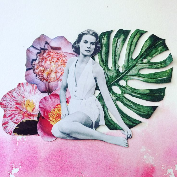 """""""Sitting Pretty"""" Collage, ink and paper featuring Grace Kelly"""