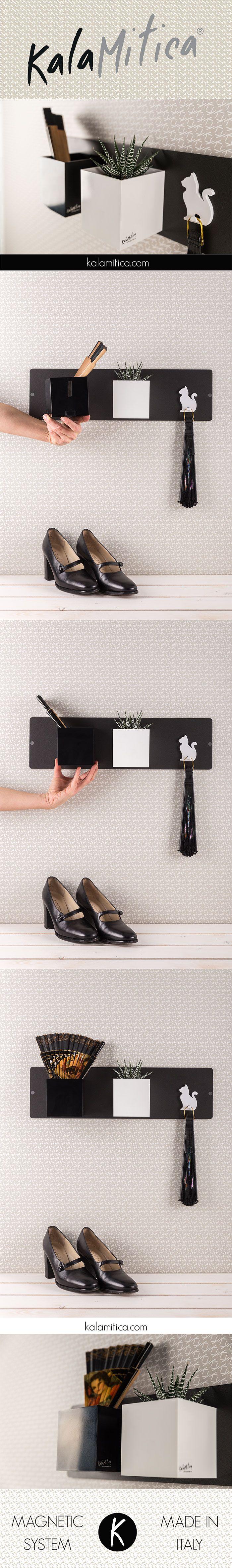 KALAMITICA IS... ALL NIGHT FLAMENCO Elegante composizione black&white: lavagna 14x50 cm color antracite, cubo bianco e cubo nero (diam. cm 9) con appendino gatto bianco. Per saperne di più: kalamitica.com