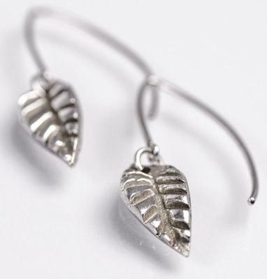 Designed and made by Nuit Nuit Pure silver (.999) leaf earrings on sterling silver hooks